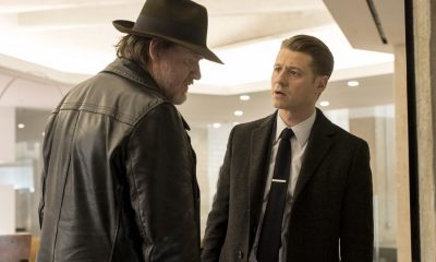 "GOTHAM: L-R: Donal Logue and Ben McKenzie in the ""A Dark Knight: Mandatory Brunch Meeting"" episode of GOTHAM airing Thursday, April 5 (8:00-9:00 PM ET/PT) on FOX. ©2018 Fox Broadcasting Co. Cr: FOX"