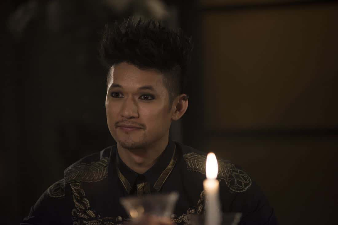"SHADOWHUNTERS - ""What Lies Beneath"" - The Shadowhunters try to track down the new imposing threat, while Jace has a suspicion that Jonathan is back and behind the mundane attacks. Simon tries to figure out what The Seelie Queen did to him during his time in the glade. Alec decides to host a Lightwood family dinner at Magnus' house after a surprising visit from Maryse. This episode of ""Shadowhunters"" airs Tuesday, April 3 (8:00 - 9:00 p.m. EDT) on Freeform. (Freeform/John Medland) HARRY SHUM JR."