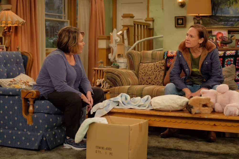 """ROSEANNE - """"Eggs Over, Not Easy"""" - A crucial moment for Becky's surrogacy arrangement forces her and Darlene to critically assess each other's lives. Meanwhile, an animal rescue organization rejects Jackie's application to adopt a puppy; and Roseanne makes a plan to change their mind, on the fourth episode of the revival of """"Roseanne,"""" TUESDAY, APRIL 10 (8:00-8:30 p.m. EDT), on The ABC Television Network. (ABC/Adam Rose) ROSEANNE BARR, LAURIE METCALF"""