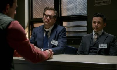 ÒA RedemptionÓ Ð Bull helps Jim Grayson (Nathan Darrow), a respectable family man who was arrested for changing his identity after being the unwitting getaway driver in a fatal robbery years ago. Bull hopes they can convince the jury that Jim has redeemed himself for his past misdeeds by living an upstanding life for years, on BULL, Tuesday, April 3 (9:00-10:00 PM, ET/PT) on the CBS Television Network. Pictured L-R: Nathan Darrow as Jim Grayson, Michael Weatherly as Dr. Jason Bull, and Freddy Rodriguez as Benny Col--n Photo: CBS ©2018 CBS Broadcasting, Inc. All Rights Reserved