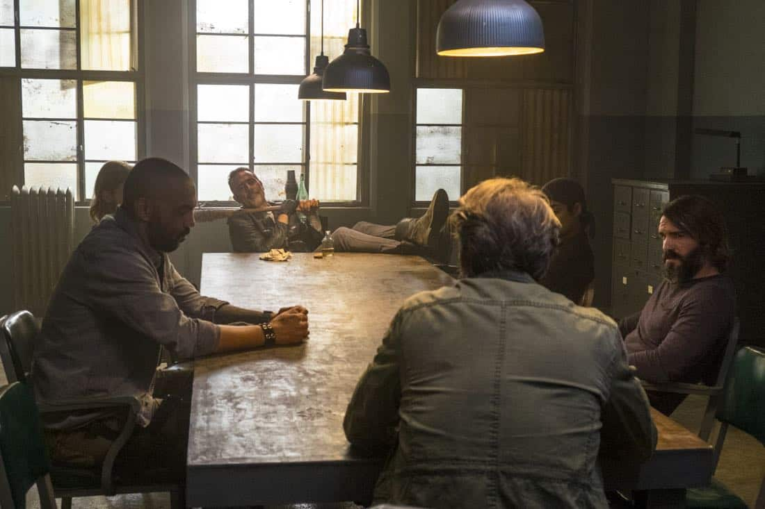 Steven Ogg as Simon, Austin Amelio as Dwight, Elizabeth Ludlow as Arat, Jeffrey Dean Morgan as Negan, Saviors - The Walking Dead _ Season 8, Episode 15 - Photo Credit: Gene Page/AMC