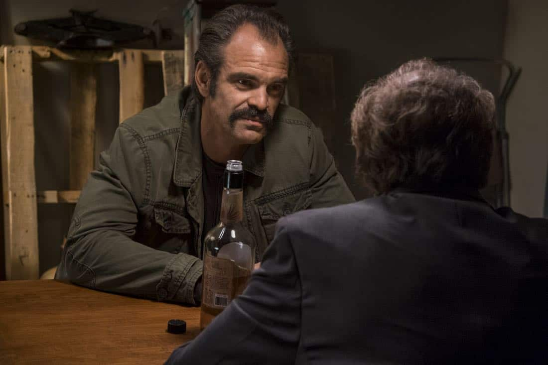 Steven Ogg as Simon, Xander Berkeley as Gregory - The Walking Dead _ Season 8, Episode 15 - Photo Credit: Gene Page/AMC