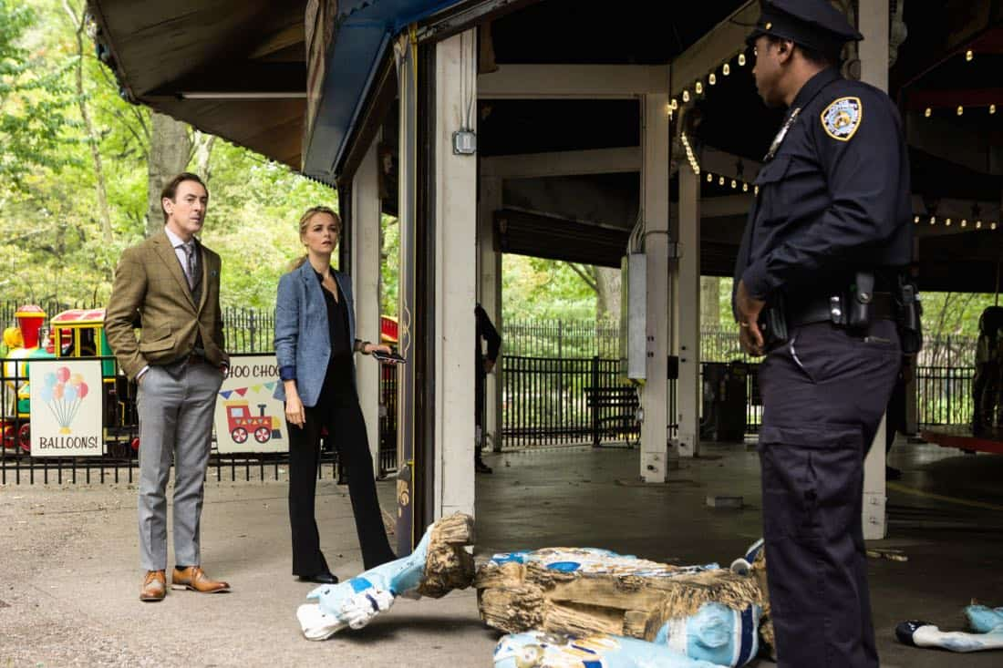"""""""I Heart New York"""" -- Dr. Dylan Reinhart and Det. Lizzie Needham are reassigned to a murder case in Central Park when their investigation into a chemical attack on the subway is taken over by an FBI team led by Dylan's estranged father, Roger (John Doman). However, Dylan can't shake the feeling that the cases are related, on INSTINCT, Sunday, April 8 (8:00-9:00, ET/PT) on the CBS Television Network.  Pictured  (L-R)  Alan Cumming as Dr. Dylan Reinhart  and Bojana Novakovic as Det. Lizzie Needham  Photo Francisco Roman/ ©2017 CBS BROADCASTING INC. ALL RIGHTS RESERVED."""