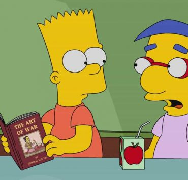 """THE SIMPSONS: In attempt to bring the family together, Marge forces everyone to hand in their electronics and take a trip to a book store in the all-new """"No Good Read Goes Unpunished"""" episode of THE SIMPSONS airing Sunday, March 25, (9:00-9:30 PM ET/PT). Pictured: Bart and Millhouse. THE SIMPSONS ™ and © 2017 TCFFC ALL RIGHTS RESERVED."""