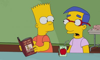 "THE SIMPSONS: In attempt to bring the family together, Marge forces everyone to hand in their electronics and take a trip to a book store in the all-new ""No Good Read Goes Unpunished"" episode of THE SIMPSONS airing Sunday, March 25, (9:00-9:30 PM ET/PT). Pictured: Bart and Millhouse. THE SIMPSONS ™ and © 2017 TCFFC ALL RIGHTS RESERVED."