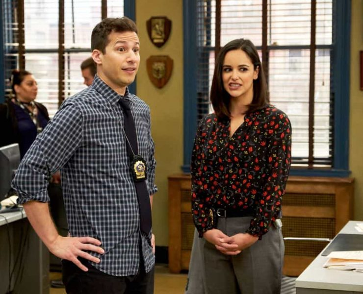 """BROOKLYN NINE-NINE: L-R: Andy Samberg and Melissa Fumero in the """"The Puzzle Master"""" episode of BROOKLYN NINE-NINE airing Sunday, April 8 (8:30-9:00 PM ET/PT) on FOX. CR: FOX"""