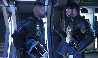 "THE EXPANSE -- ""Fight or Flight"" Episode 301 -- Pictured: (l-r) Wes Chatham as Amos Burton, Cas Anvar as Alex Kamal -- (Photo by: Rafy/Syfy)"
