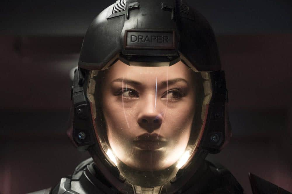 """THE EXPANSE -- """"Fight or Flight"""" Episode 301 -- Pictured: Frankie Adams as Bobbie Draper -- (Photo by: Rafy/Syfy)"""