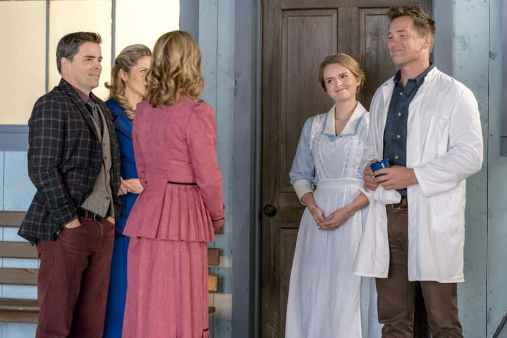 While transporting AJ to face trial, Bill gets bitten by a rattlesnake. Abigail tries to save the town from an investor who will hurt Hope Valley.  Carson is faced with a life and death medical decision.  Elizabeth tries to reunite a mother and her son.  Photo:Lori Loughlin,Kavan Smith, Pascale Hutton, Andrea Brooks, Paul Greene  Credit: Copyright 2018 Crown Media United States LLC/Photographer: Ricardo Hubbs