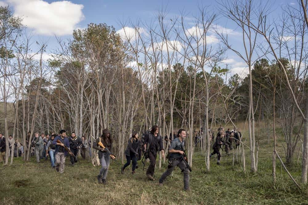 Avi Nash as Siddiq, Cooper Andrews as Jerry, Danai Gurira as Michonne, Lauren Cohan as Maggie Rhee, Norman Reedus as Daryl Dixon, Andrew Lincoln as Rick Grimes, Tom Payne as Paul 'Jesus' Rovia, Christian Serratos as Rosita Espinosa - The Walking Dead _ Season 8, Episode 16 - Photo Credit: Gene Page/AMC