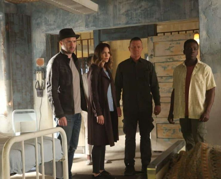 """""""A Lie in the Sand"""" -- Team Scorpion heads to Northeast Africa where they must carefully navigate a minefield in order to save the lives of local villagers. Also, Paige and Walter's relationship takes a shocking turn, and Toby and Happy make an important decision, on the fourth season finale of SCORPION, Monday, April 16 (10:00-11:00 PM, ET/PT) on the CBS Television Network. Pictured: Eddie Kaye Thomas, Katharine McPhee, Robert Patrick. Photo: Michael Yarish/CBS ©2018 CBS Broadcasting, Inc. All Rights Reserved"""