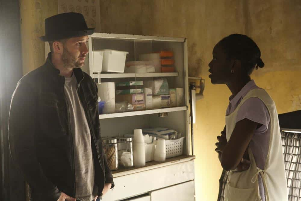 """""""A Lie in the Sand"""" -- Team Scorpion heads to Northeast Africa where they must carefully navigate a minefield in order to save the lives of local villagers. Also, Paige and Walter's relationship takes a shocking turn, and Toby and Happy make an important decision, on the fourth season finale of SCORPION, Monday, April 16 (10:00-11:00 PM, ET/PT) on the CBS Television Network. Pictured: Eddie Kaye Thomas  Photo: Michael Yarish/CBS ©2018 CBS Broadcasting, Inc. All Rights Reserved"""