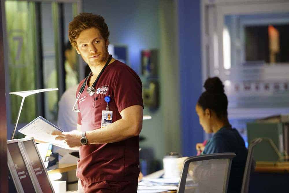 """CHICAGO MED -- """"Devil in Disguise"""" Episode 315 -- Pictured: Nick Gehlfuss as Will Halstead -- (Photo by: Elizabeth Sisson/NBC)"""