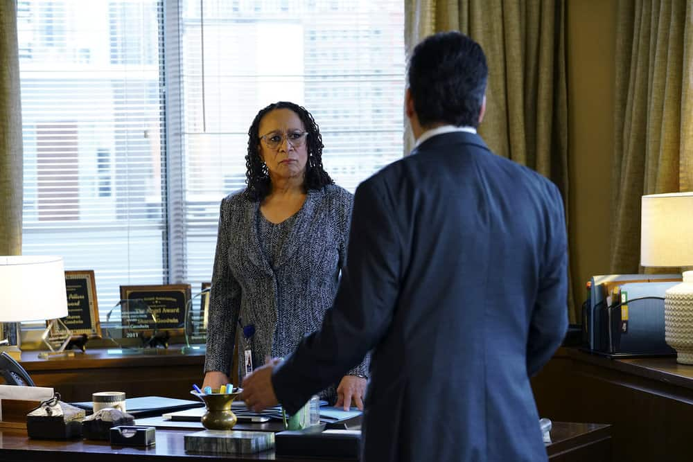 """CHICAGO MED -- """"Devil in Disguise"""" Episode 315 -- Pictured: S. Epatha Merkerson as Sharon Goodwin -- (Photo by: Elizabeth Sisson/NBC)"""