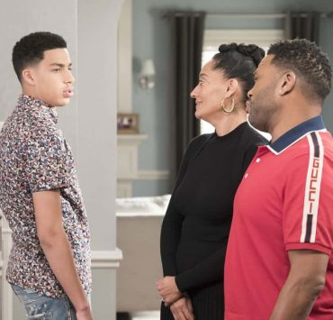 """BLACK-ISH - """"Dog Eat Dog World"""" - The family is divided over the idea of getting a dog after Dre and Bow promise Jack they can get one after he gets Straight A's - and he does! Meanwhile, Bow's brother Johan is in town and he doesn't get the warm welcome he expects from Ruby, on """"black-ish,"""" TUESDAY, APRIL 10 (9:00-9:30 p.m. EDT), on The ABC Television Network. (ABC/Eric McCandless) MARCUS SCRIBNER, TRACEE ELLIS ROSS, ANTHONY ANDERSON"""
