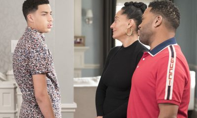 "BLACK-ISH - ""Dog Eat Dog World"" - The family is divided over the idea of getting a dog after Dre and Bow promise Jack they can get one after he gets Straight A's - and he does! Meanwhile, Bow's brother Johan is in town and he doesn't get the warm welcome he expects from Ruby, on ""black-ish,"" TUESDAY, APRIL 10 (9:00-9:30 p.m. EDT), on The ABC Television Network. (ABC/Eric McCandless) MARCUS SCRIBNER, TRACEE ELLIS ROSS, ANTHONY ANDERSON"