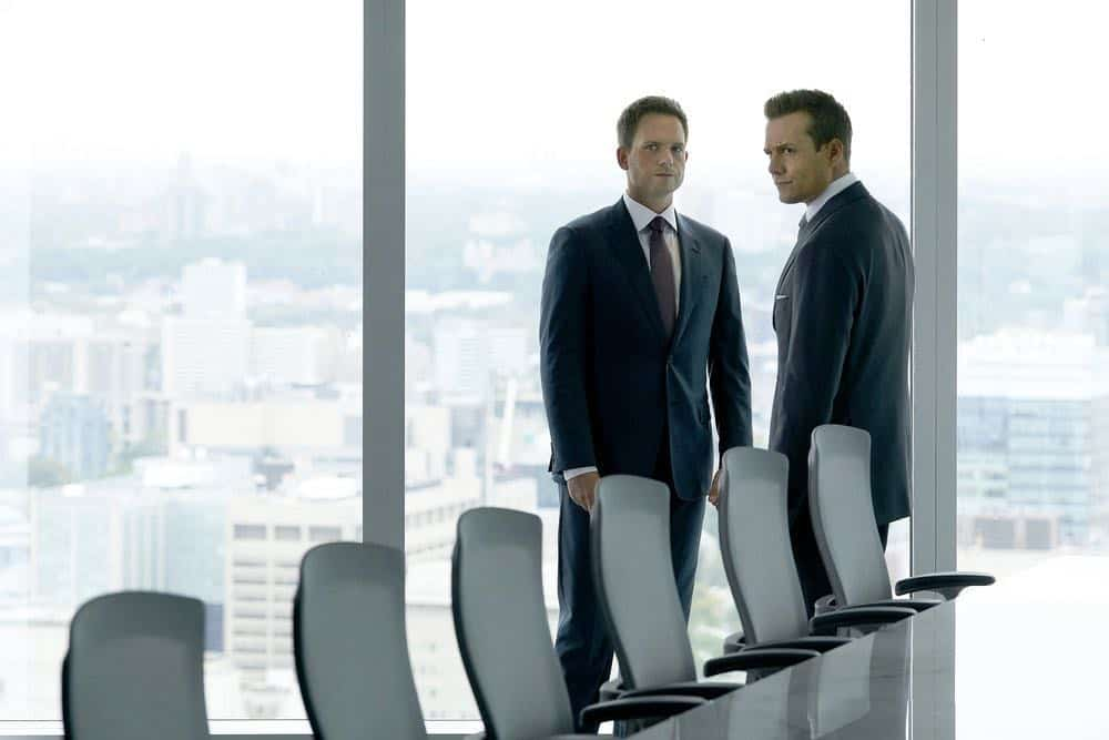 """SUITS -- """"Inevitable"""" Episode 713 -- Pictured: (l-r) Patrick J. Adams as Mike Ross, Gabriel Macht as Harvey Specter -- (Photo by: Ian Watson/USA Network)"""