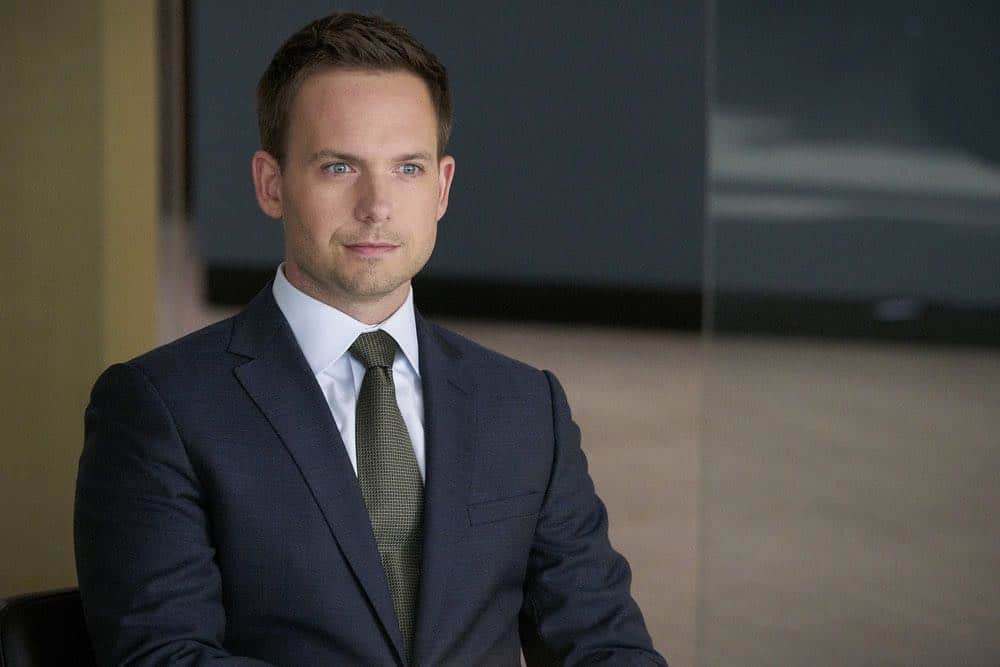 """SUITS -- """"Inevitable"""" Episode 713 -- Pictured: Patrick J. Adams as Mike Ross -- (Photo by: Ian Watson/USA Network)"""