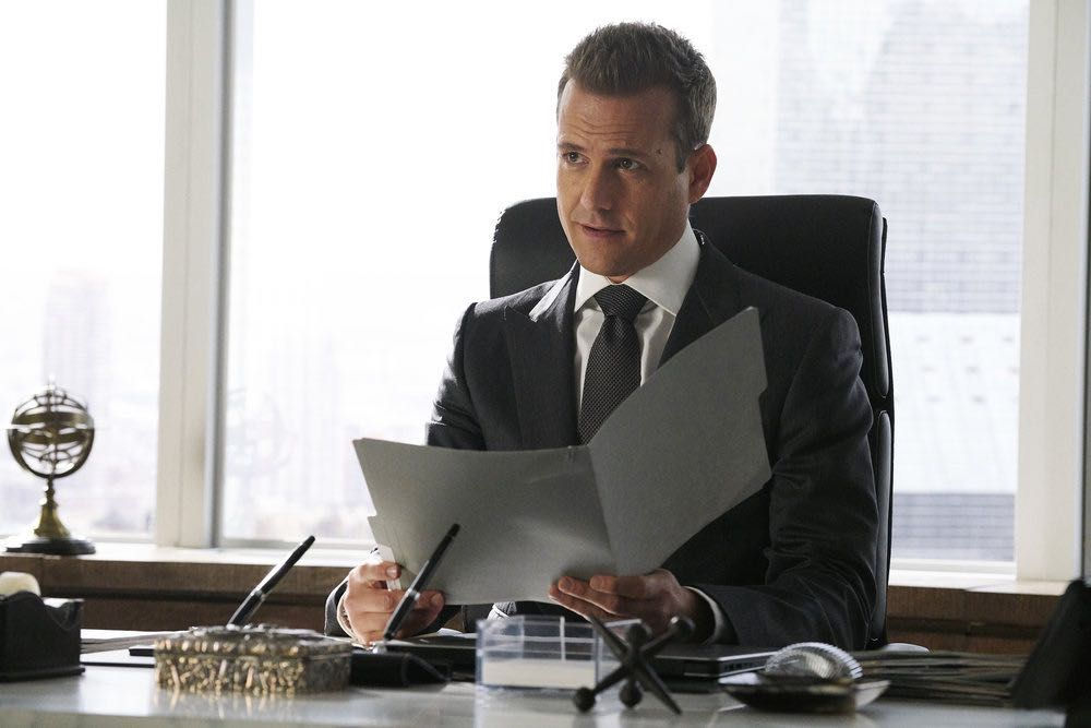 """SUITS -- """"Inevitable"""" Episode 713 -- Pictured: Gabriel Macht as Harvey Specter -- (Photo by: Ian Watson/USA Network)"""