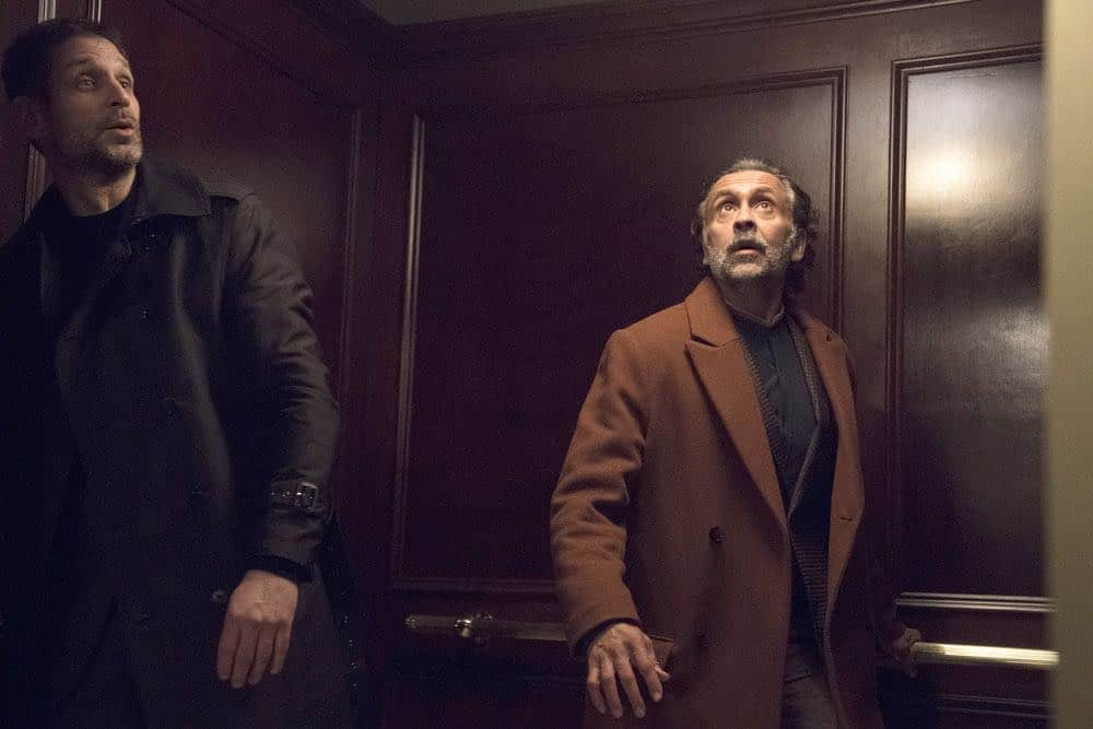 "THE BLACKLIST -- ""Zarak Mosadek (#23)"" Episode 518 -- Pictured: (l-r)  Mustafa Gatollari as Guard, Bernard White as Zarak Mosadek -- (Photo by: Virginia Sherwood/NBC)"