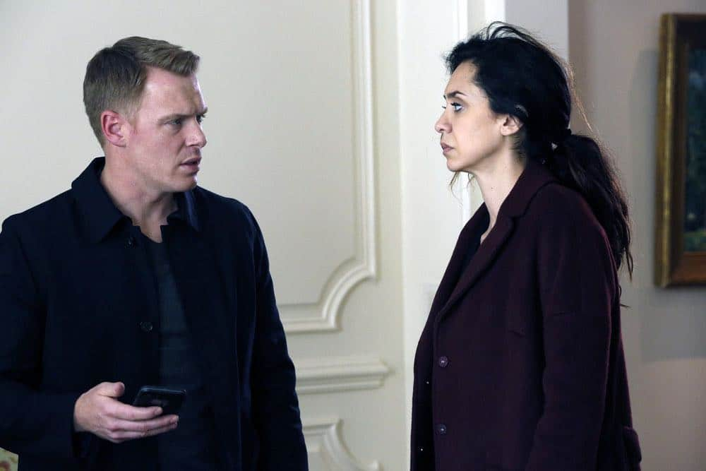 "THE BLACKLIST -- ""Zarak Mosadek (#23)"" Episode 518 -- Pictured: (l-r)  Diego Klattenhoff as Donald Ressler, Mozhan Marno as Samar Navabi -- (Photo by: Will Hart/NBC)"