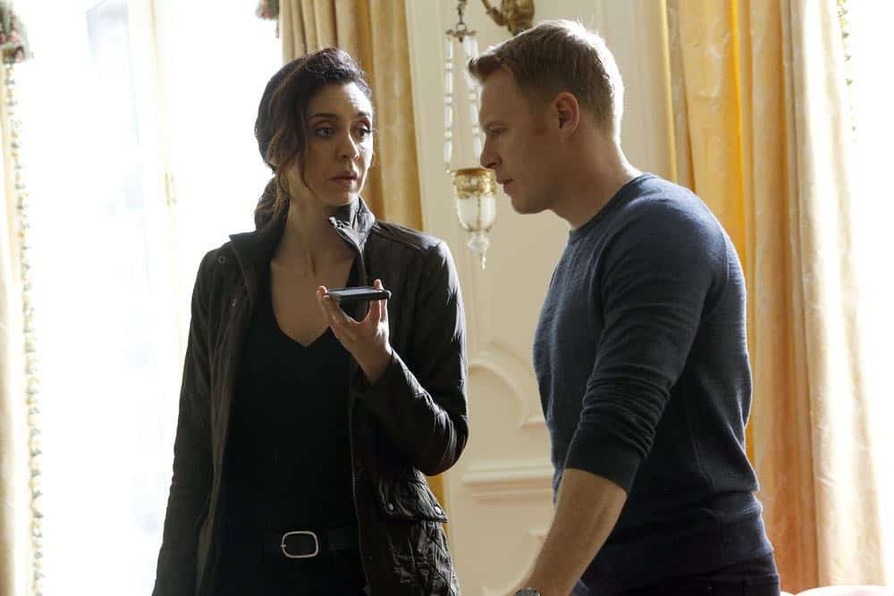 "THE BLACKLIST -- ""Zarak Mosadek (#23)"" Episode 518 -- Pictured: (l-r) Mozhan Marno as Samar Navabi, Diego Klattenhoff as Donald Ressler -- (Photo by: Will Hart/NBC)"