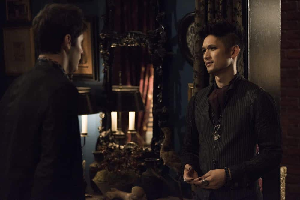 "SHADOWHUNTERS - ""Stronger Than Heaven"" - Someone is out to get Simon and Jace is on the hunt to find out who it is, meanwhile Clary turns to Luke to find a way to help Jace. Alec worries about the future of his relationship after learning more about Magnus' romantic past. This episode of ""Shadowhunters"" airs Tuesday, April (8:00 - 9:00 p.m. EDT) on Freeform. (Freeform/John Medland) MATTHEW DADDARIO, HARRY SHUM JR."