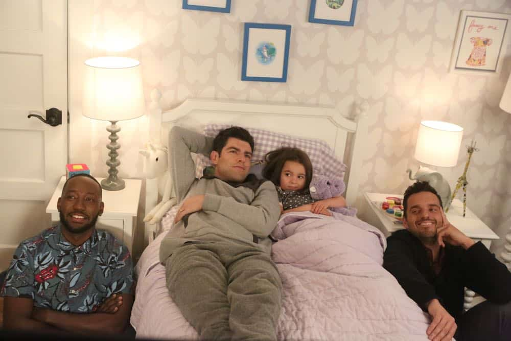"NEW GIRL:  L-R:  Lamorne Morris, Max Greenfield, Danielle/Rhiannon Rockoff and Jake Johnson in the ""Tuesday Meeting"" episode of NEW GIRL airing Tuesday, April 17 (9:30-10:00 PM ET/PT) on FOX.  ©2018 Fox Broadcasting Co. Cr: Ray Mickshaw/FOX"
