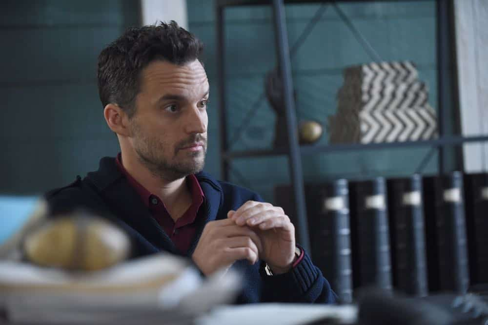 "NEW GIRL:  Jake Johnson in the ""Tuesday Meeting"" episode of NEW GIRL airing Tuesday, April 17 (9:30-10:00 PM ET/PT) on FOX.  ©2018 Fox Broadcasting Co. Cr: Ray Mickshaw/FOX"
