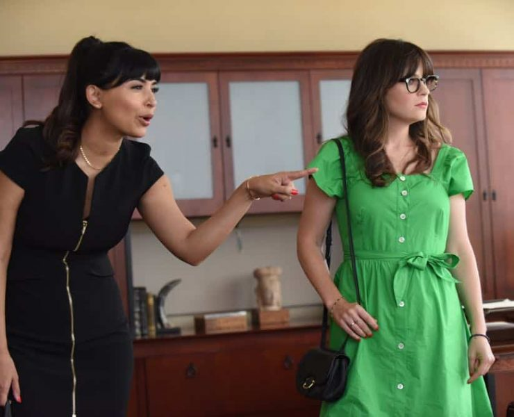 """NEW GIRL: L-R: Hannah Simone and Zooey Deschanel in the """"Tuesday Meeting"""" episode of NEW GIRL airing Tuesday, April 17 (9:30-10:00 PM ET/PT) on FOX. ©2018 Fox Broadcasting Co. Cr: Ray Mickshaw/FOX"""