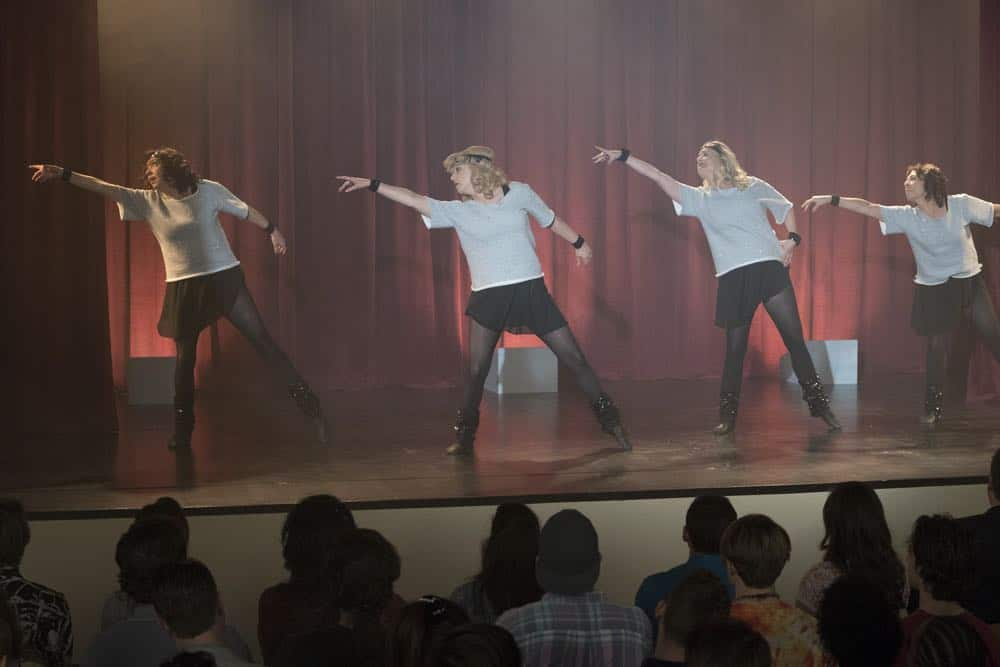 "THE GOLDBERGS - ""Flashy Little Flashdancer"" - After seeing ""Flashdance,"" Beverly decides to take up dance with the Frentas and is dejected when the family doesn't support her after telling them she is going to be in a recital. Meanwhile, when Emmy starts dating a cool guy, Adam thinks their friendship is in jeopardy, so he sets out to be cooler which backfires, on ""The Goldbergs,"" WEDNESDAY, APRIL 11 (8:00-8:30 p.m. EDT), on The ABC Television Network. (ABC/Byron Cohen) STEPHANIE COURTNEY, WENDI MCLENDON-COVEY, JENNIFER IRWIN, MINDY STERLING"