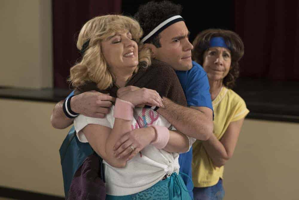 """THE GOLDBERGS - """"Flashy Little Flashdancer"""" - After seeing """"Flashdance,"""" Beverly decides to take up dance with the Frentas and is dejected when the family doesn't support her after telling them she is going to be in a recital. Meanwhile, when Emmy starts dating a cool guy, Adam thinks their friendship is in jeopardy, so he sets out to be cooler which backfires, on """"The Goldbergs,"""" WEDNESDAY, APRIL 11 (8:00-8:30 p.m. EDT), on The ABC Television Network. (ABC/Byron Cohen) WENDI MCLENDON-COVEY, TROY GENTILE, MINDY STERLING"""