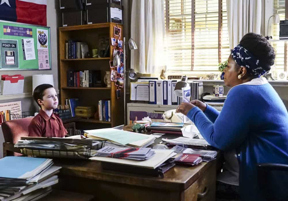"""A Mother, a Child, and a Blue Man's Backside"" - Pictured: Sheldon (Iain Armitage) and Mrs. Costello (Cleo King). Mary bans Sheldon from reading a mature comic book, and Sheldon decides it's time to stop living under Mary's thumb, on YOUNG SHELDON, Thursday, April 12 (8:31-9:01 PM, ET/PT) on the CBS Television Network. Photo: Monty Brinton/CBS ©2018 CBS Broadcasting, Inc. All Rights Reserved."
