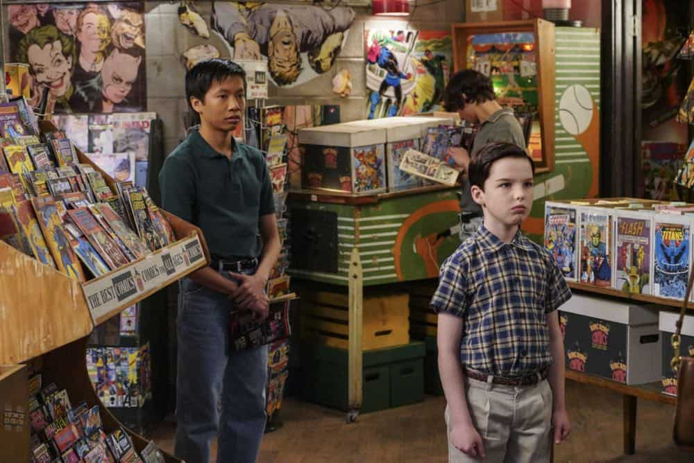 """A Mother, a Child, and a Blue Man's Backside"" - Pictured: Tam (Ryan Phuong) and Sheldon (Iain Armitage). Mary bans Sheldon from reading a mature comic book, and Sheldon decides it's time to stop living under Mary's thumb, on YOUNG SHELDON, Thursday, April 12 (8:31-9:01 PM, ET/PT) on the CBS Television Network. Photo: Bill Inoshita/CBS ©2018 CBS Broadcasting, Inc. All Rights Reserved."