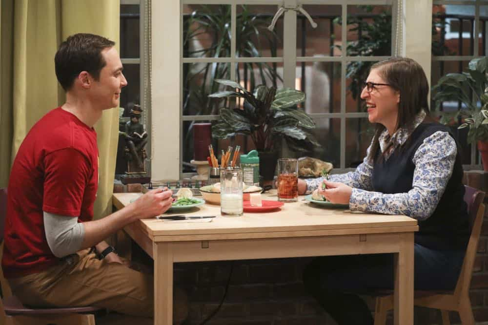 """""""The Comet Polarization"""" - Pictured: Sheldon Cooper (Jim Parsons) and Amy Farrah Fowler (Mayim Bialik). Sheldon's comic book store experience changes when writer Neil Gaiman puts Stuart's store on the map.  Also, Koothrappali takes credit for Penny's astronomical discovery and friendships are threatened, on THE BIG BANG THEORY, Thursday, April 19 (8:00-8:31 PM, ET/PT), on the CBS Television Network. Photo: Jordin Althaus/Warner Bros. Entertainment Inc. © 2018 WBEI. All rights reserved."""
