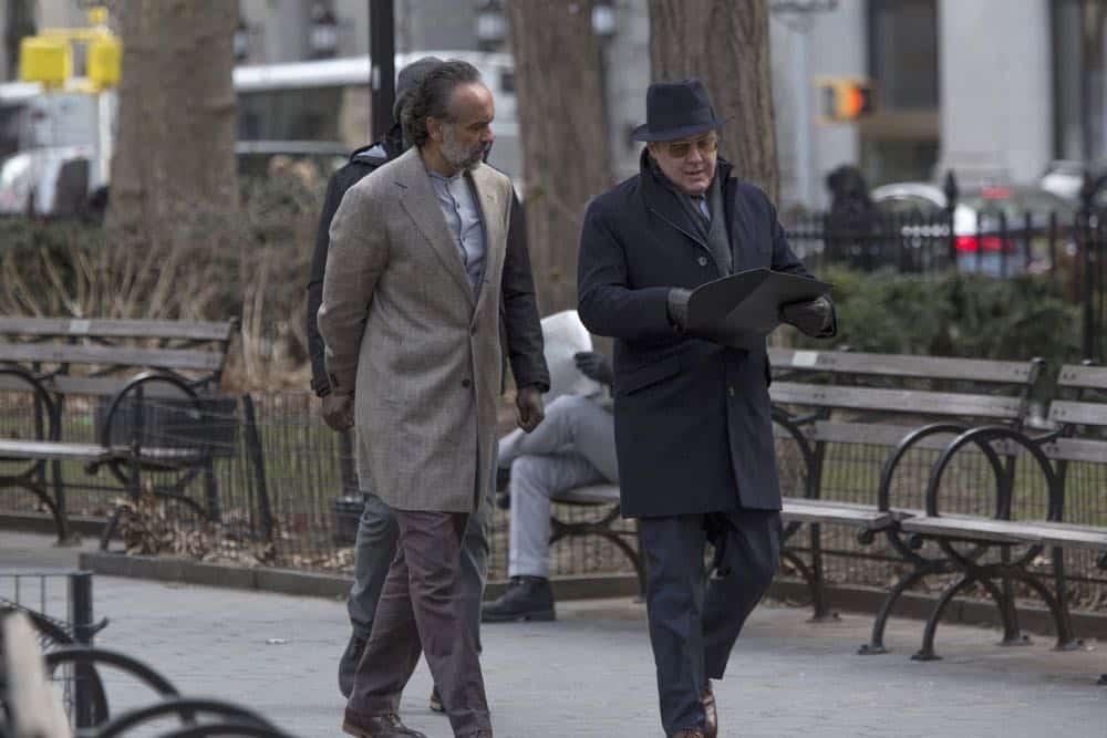 """THE BLACKLIST -- """"Ian Garvey (#13): Conclusion"""" Episode 519 -- Pictured: (l-r) Bernard White as Zarak Mosadek, James Spader as Raymond """"Red"""" Reddington -- (Photo by: Eric Leibowitz/NBC)"""