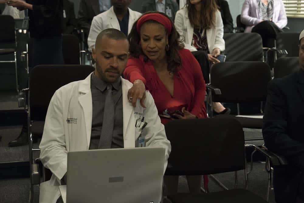 "GREY'S ANATOMY - ""Judgment Day"" - During presentations on Grey Sloan Surgical Innovation Prototypes Day, Arizona shares some cookies from an appreciative patient that, unbeknownst to her, contain a special ingredient. Meanwhile, Catherine reveals some shocking details to Jackson about his grandfather's past; and Jo steps in mid-operation on a major surgery after Bailey and Meredith are down for the count, on ""Grey's Anatomy,"" THURSDAY, APRIL 19 (8:00-9:00 p.m. EDT), on The ABC Television Network. (ABC/Byron Cohen) JESSE WILLIAMS, DEBBIE ALLEN"