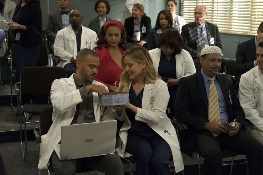 "GREY'S ANATOMY - ""Judgment Day"" - During presentations on Grey Sloan Surgical Innovation Prototypes Day, Arizona shares some cookies from an appreciative patient that, unbeknownst to her, contain a special ingredient. Meanwhile, Catherine reveals some shocking details to Jackson about his grandfather's past; and Jo steps in mid-operation on a major surgery after Bailey and Meredith are down for the count, on ""Grey's Anatomy,"" THURSDAY, APRIL 19 (8:00-9:00 p.m. EDT), on The ABC Television Network. (ABC/Byron Cohen) JESSE WILLIAMS, DEBBIE ALLEN, JESSICA CAPSHAW, CHANDRA WILSON"