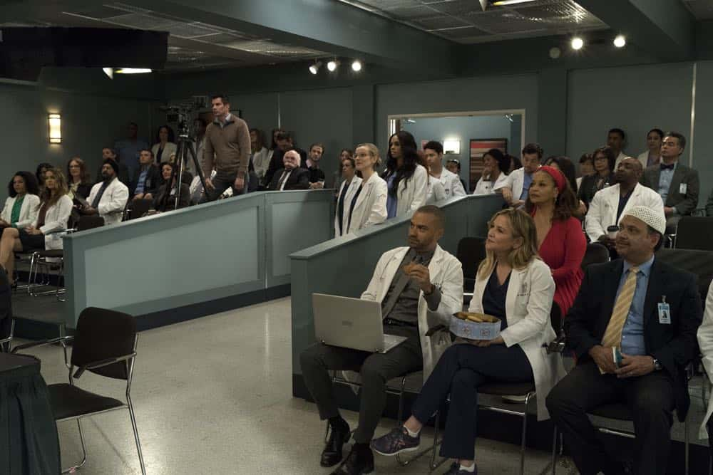 "GREY'S ANATOMY - ""Judgment Day"" - During presentations on Grey Sloan Surgical Innovation Prototypes Day, Arizona shares some cookies from an appreciative patient that, unbeknownst to her, contain a special ingredient. Meanwhile, Catherine reveals some shocking details to Jackson about his grandfather's past; and Jo steps in mid-operation on a major surgery after Bailey and Meredith are down for the count, on ""Grey's Anatomy,"" THURSDAY, APRIL 19 (8:00-9:00 p.m. EDT), on The ABC Television Network. (ABC/Byron Cohen) KELLY MCCREARY, CAMILLA LUDDINGTON, JESSE WILLIAMS, JESSICA CAPSHAW, DEBBIE ALLEN"