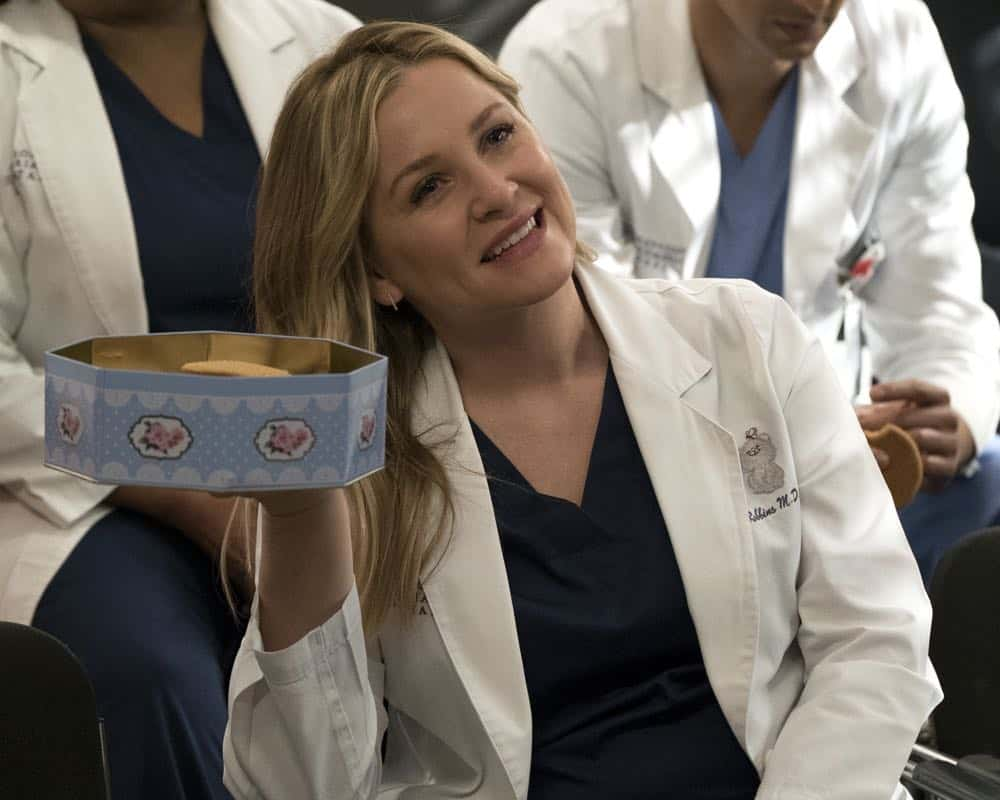 "GREY'S ANATOMY - ""Judgment Day"" - During presentations on Grey Sloan Surgical Innovation Prototypes Day, Arizona shares some cookies from an appreciative patient that, unbeknownst to her, contain a special ingredient. Meanwhile, Catherine reveals some shocking details to Jackson about his grandfather's past; and Jo steps in mid-operation on a major surgery after Bailey and Meredith are down for the count, on ""Grey's Anatomy,"" THURSDAY, APRIL 19 (8:00-9:00 p.m. EDT), on The ABC Television Network. (ABC/Byron Cohen) JESSICA CAPSHAW"