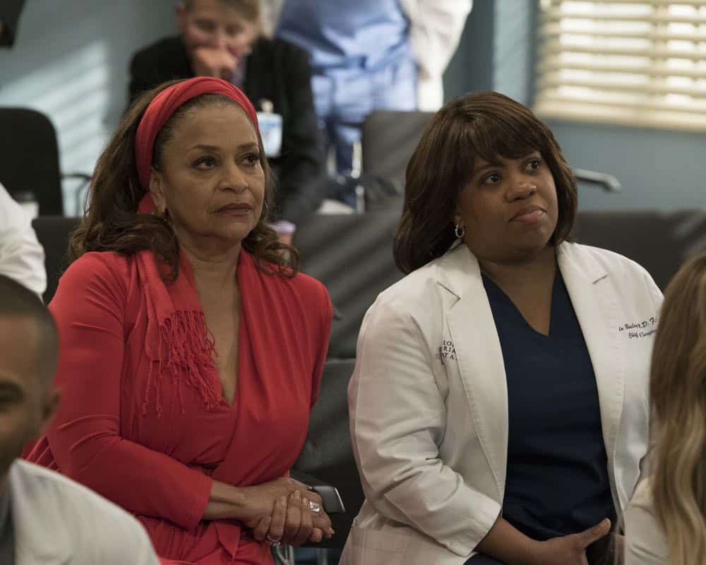"GREY'S ANATOMY - ""Judgment Day"" - During presentations on Grey Sloan Surgical Innovation Prototypes Day, Arizona shares some cookies from an appreciative patient that, unbeknownst to her, contain a special ingredient. Meanwhile, Catherine reveals some shocking details to Jackson about his grandfather's past; and Jo steps in mid-operation on a major surgery after Bailey and Meredith are down for the count, on ""Grey's Anatomy,"" THURSDAY, APRIL 19 (8:00-9:00 p.m. EDT), on The ABC Television Network. (ABC/Byron Cohen) DEBBIE ALLEN, CHANDRA WILSON"