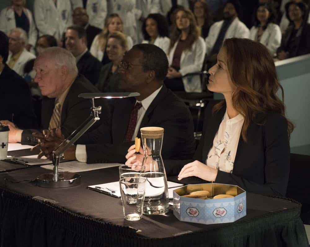 "GREY'S ANATOMY - ""Judgment Day"" - During presentations on Grey Sloan Surgical Innovation Prototypes Day, Arizona shares some cookies from an appreciative patient that, unbeknownst to her, contain a special ingredient. Meanwhile, Catherine reveals some shocking details to Jackson about his grandfather's past; and Jo steps in mid-operation on a major surgery after Bailey and Meredith are down for the count, on ""Grey's Anatomy,"" THURSDAY, APRIL 19 (8:00-9:00 p.m. EDT), on The ABC Television Network. (ABC/Byron Cohen) SARAH DREW"