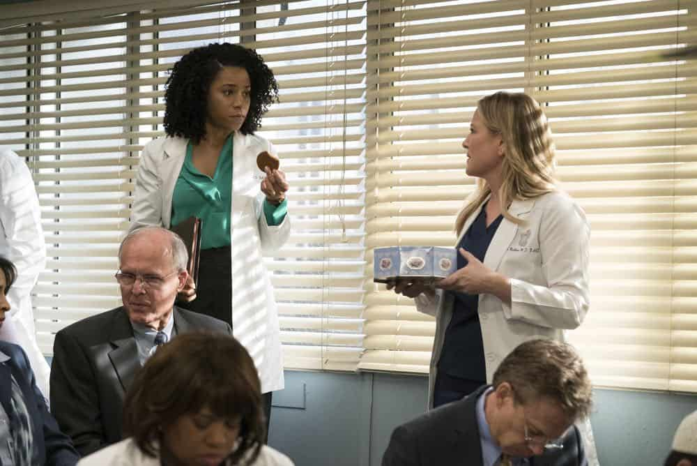 "GREY'S ANATOMY - ""Judgment Day"" - During presentations on Grey Sloan Surgical Innovation Prototypes Day, Arizona shares some cookies from an appreciative patient that, unbeknownst to her, contain a special ingredient. Meanwhile, Catherine reveals some shocking details to Jackson about his grandfather's past; and Jo steps in mid-operation on a major surgery after Bailey and Meredith are down for the count, on ""Grey's Anatomy,"" THURSDAY, APRIL 19 (8:00-9:00 p.m. EDT), on The ABC Television Network. (ABC/Byron Cohen) KELLY MCCREARY, JESSICA CAPSHAW"