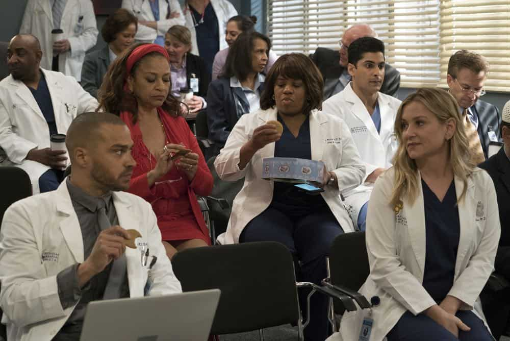 "GREY'S ANATOMY - ""Judgment Day"" - During presentations on Grey Sloan Surgical Innovation Prototypes Day, Arizona shares some cookies from an appreciative patient that, unbeknownst to her, contain a special ingredient. Meanwhile, Catherine reveals some shocking details to Jackson about his grandfather's past; and Jo steps in mid-operation on a major surgery after Bailey and Meredith are down for the count, on ""Grey's Anatomy,"" THURSDAY, APRIL 19 (8:00-9:00 p.m. EDT), on The ABC Television Network. (ABC/Byron Cohen) JESSE WILLIAMS, DEBBIE ALLEN, CHANDRA WILSON, RUSHI KOTA, JESSICA CAPSHAW"