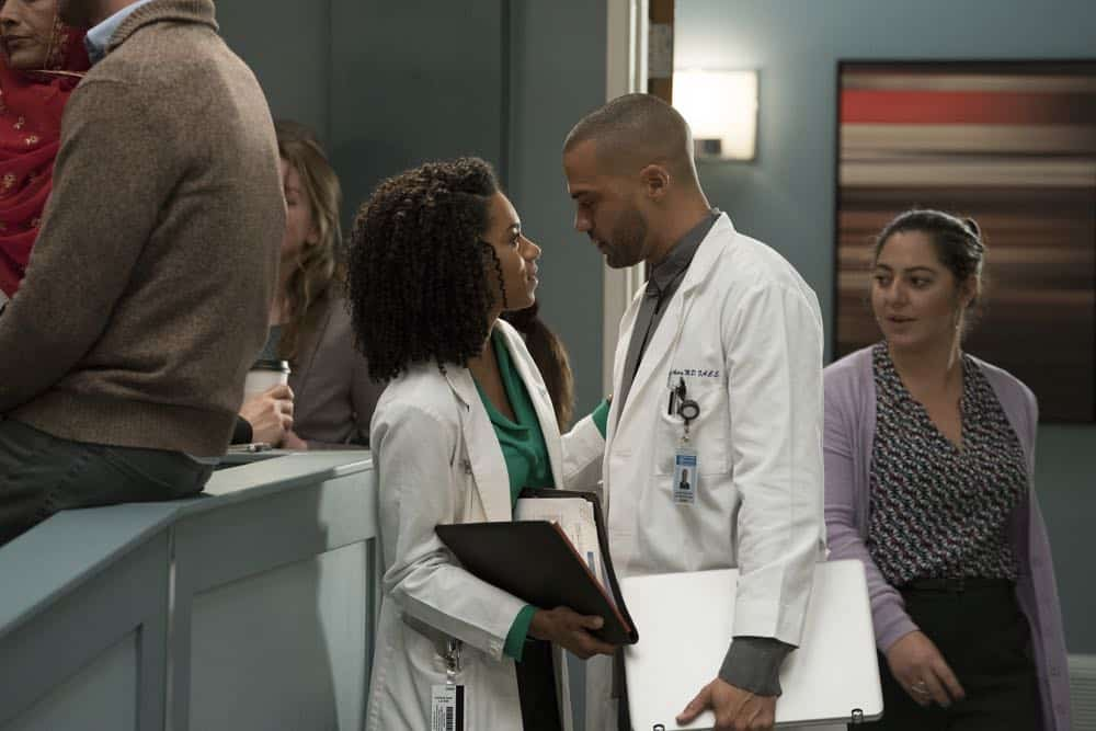 "GREY'S ANATOMY - ""Judgment Day"" - During presentations on Grey Sloan Surgical Innovation Prototypes Day, Arizona shares some cookies from an appreciative patient that, unbeknownst to her, contain a special ingredient. Meanwhile, Catherine reveals some shocking details to Jackson about his grandfather's past; and Jo steps in mid-operation on a major surgery after Bailey and Meredith are down for the count, on ""Grey's Anatomy,"" THURSDAY, APRIL 19 (8:00-9:00 p.m. EDT), on The ABC Television Network. (ABC/Byron Cohen) KELLY MCCREARY, JESSE WILLIAMS"