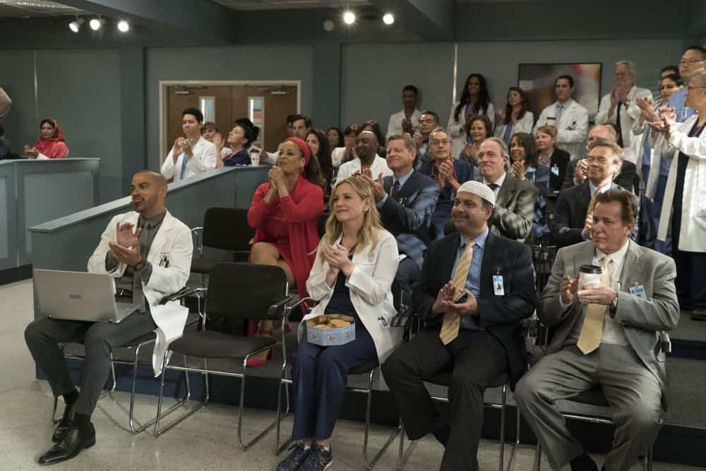 "GREY'S ANATOMY - ""Judgment Day"" - During presentations on Grey Sloan Surgical Innovation Prototypes Day, Arizona shares some cookies from an appreciative patient that, unbeknownst to her, contain a special ingredient. Meanwhile, Catherine reveals some shocking details to Jackson about his grandfather's past; and Jo steps in mid-operation on a major surgery after Bailey and Meredith are down for the count, on ""Grey's Anatomy,"" THURSDAY, APRIL 19 (8:00-9:00 p.m. EDT), on The ABC Television Network. (ABC/Byron Cohen) JESSE WILLIAMS, DEBBIE ALLEN, JESSICA CAPSHAW"