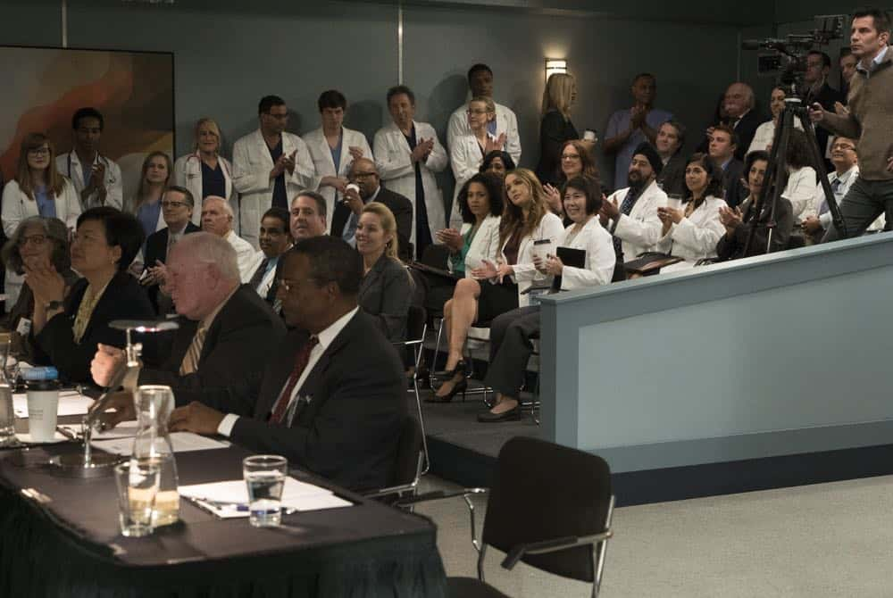 "GREY'S ANATOMY - ""Judgment Day"" - During presentations on Grey Sloan Surgical Innovation Prototypes Day, Arizona shares some cookies from an appreciative patient that, unbeknownst to her, contain a special ingredient. Meanwhile, Catherine reveals some shocking details to Jackson about his grandfather's past; and Jo steps in mid-operation on a major surgery after Bailey and Meredith are down for the count, on ""Grey's Anatomy,"" THURSDAY, APRIL 19 (8:00-9:00 p.m. EDT), on The ABC Television Network. (ABC/Byron Cohen) KELLY MCCREARY, CAMILLA LUDDINGTON"