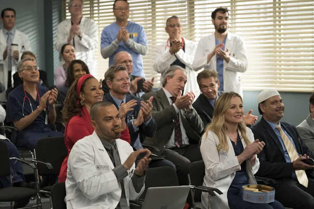 "GREY'S ANATOMY - ""Judgment Day"" - During presentations on Grey Sloan Surgical Innovation Prototypes Day, Arizona shares some cookies from an appreciative patient that, unbeknownst to her, contain a special ingredient. Meanwhile, Catherine reveals some shocking details to Jackson about his grandfather's past; and Jo steps in mid-operation on a major surgery after Bailey and Meredith are down for the count, on ""Grey's Anatomy,"" THURSDAY, APRIL 19 (8:00-9:00 p.m. EDT), on The ABC Television Network. (ABC/Byron Cohen) DEBBIE ALLEN, JESSE WILLIAMS, JESSICA CAPSHAW"