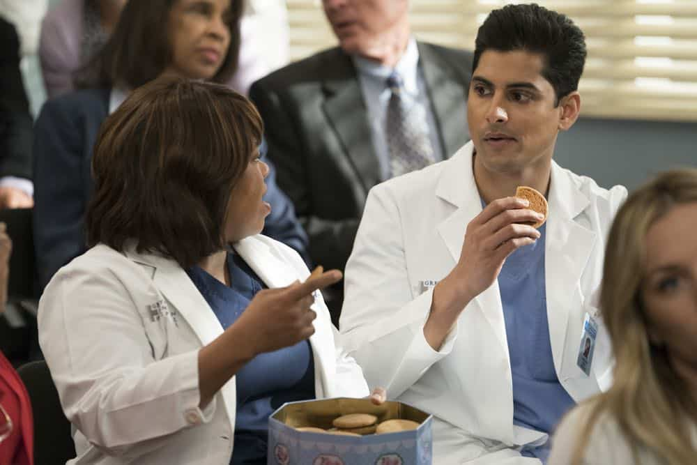"GREY'S ANATOMY - ""Judgment Day"" - During presentations on Grey Sloan Surgical Innovation Prototypes Day, Arizona shares some cookies from an appreciative patient that, unbeknownst to her, contain a special ingredient. Meanwhile, Catherine reveals some shocking details to Jackson about his grandfather's past; and Jo steps in mid-operation on a major surgery after Bailey and Meredith are down for the count, on ""Grey's Anatomy,"" THURSDAY, APRIL 19 (8:00-9:00 p.m. EDT), on The ABC Television Network. (ABC/Byron Cohen) CHANDRA WILSON, RUSHI KOTA"