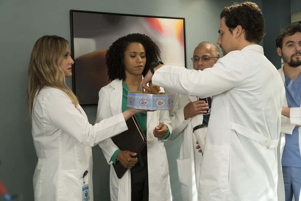 "GREY'S ANATOMY - ""Judgment Day"" - During presentations on Grey Sloan Surgical Innovation Prototypes Day, Arizona shares some cookies from an appreciative patient that, unbeknownst to her, contain a special ingredient. Meanwhile, Catherine reveals some shocking details to Jackson about his grandfather's past; and Jo steps in mid-operation on a major surgery after Bailey and Meredith are down for the count, on ""Grey's Anatomy,"" THURSDAY, APRIL 19 (8:00-9:00 p.m. EDT), on The ABC Television Network. (ABC/Byron Cohen) JESSICA CAPSHAW, KELLY MCCREARY, GIACOMO GIANNIOTTI"